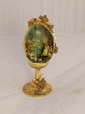 Vintage Decorated Diorama Real Egg on Stand Woman w/ Geese Swans