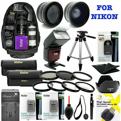 Nikon D3500 DSLR CAMERA FULL 55MM  HD ACCESSORY KIT LENSES FLASH BACKPACK TRIPOD