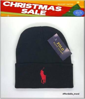 Polo Ralph Lauren Beanie Hat Winter Black Red Pony Unisex Adults Size Free P&P