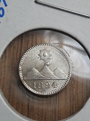 Guatemala 1894 H 1/4 Real Silver Coin UNC