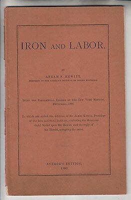 1890 Booklet - Iron And Labor - By Abram S. Hewitt