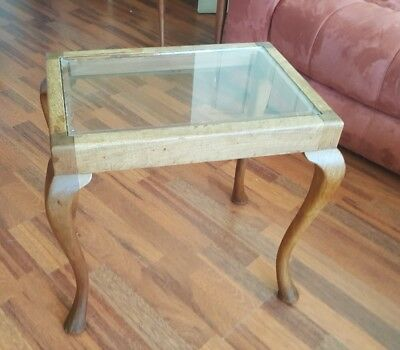 Antique Queen Anne Style Glass Top Occasional Table with Cabriole Legs