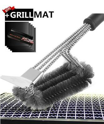 0 DEGREE Grill Brush with Scraper BBQ Cleaner Accessories Stainless Steel Grill