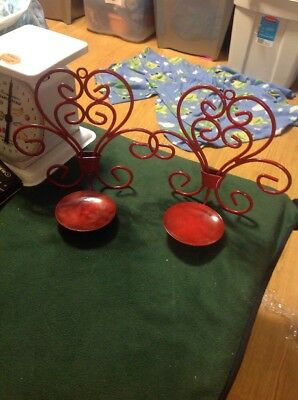 Antique Cast Iron Art Deco Red Wall Sconces - Lot Of 2