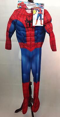 Spiderman Costume Boys Medium NWT Red Blue Marvel Muscle Chest Jumpsuit Mask New