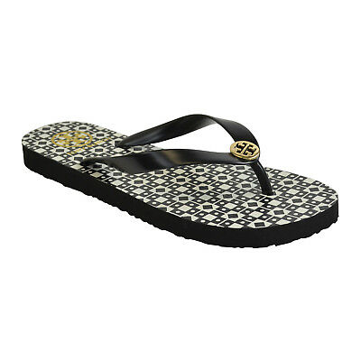 97dffdd9e736 TORY BURCH PRINTED Isidro Flip Flops Black White Gold US Size 9 NWOB ...