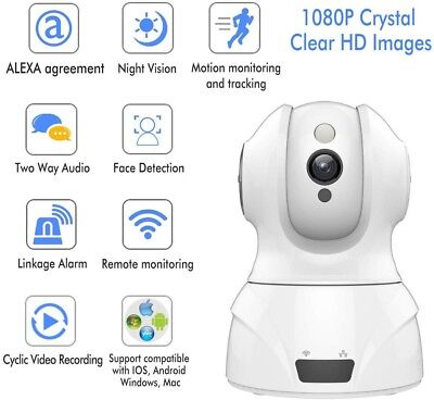 Wireless Security Camera 1080P HD Night Vision Baby Monitor IP Cam iOS Android