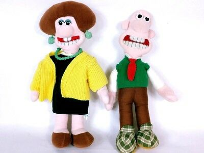"""Wallace and Gromit Wallace and Wendolyne Plush Stuffed Dolls 15"""""""