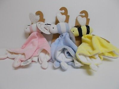 "Burt's Bees Baby ""Hold Me Bee"" Security Blanket 100% Organic Cotton Shell W/Tag"