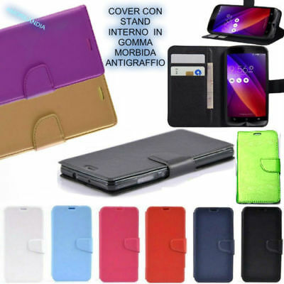 PER HUAWEI P SMART - cover A LIBRO 3 TASCHE PORTA CARD WALLET IN ECO PELLE GOMMA