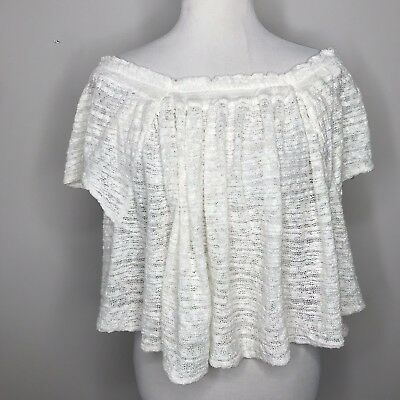 60ef7b9dc85 FREE PEOPLE Womens Thrill Frills Open Knit Off-The-Shoulder Crop top Small  1644