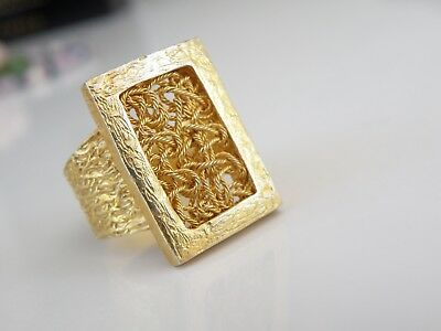 Passage to Turkey 24K Gold Sterling Silver Roman Unique Byzantine Ring Size 9