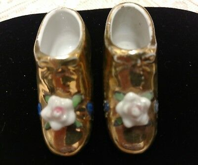 Vintage Porcelain Collectible Pair Of Miniature Shoes, Glazed In Gold