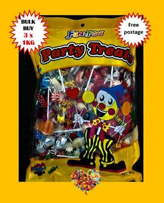 3 X 1Kg Fun Party Treats Halloween Lollies Wrapped Mixed Lollies Lollipops