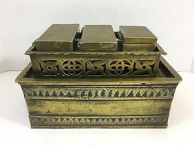 Antique Vintage Bronze Brass Betel Nut Box 1800's 5 Piece Set