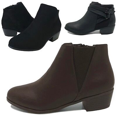 2a6d8747a8 NEW WOMEN'S ANKLE Boots Low Heel Short Booties Black Brown Size 6 to ...