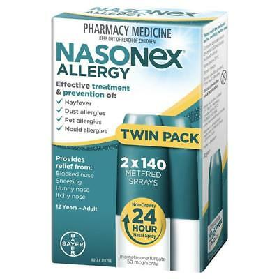 NASONEX ALLERGY 2 x 140 METERED NASAL SPRAYS TWIN PACK HAYFEVER RELIEF TREATMENT