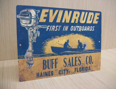 Evinrude First In Outboards Haines City Florida Vintage Style Tin Metal Sign