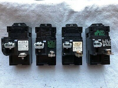Lot of 2 ITE Bulldog P115 Pushmatic 15 Amp Single Pole Circuit Breakers