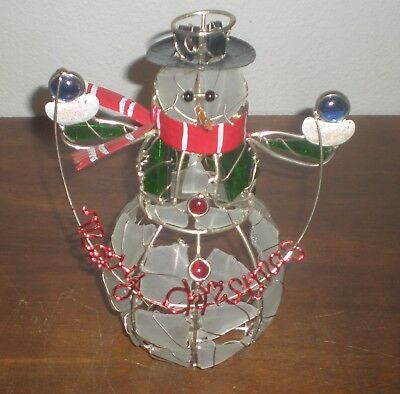 "9"" Snowman Votive Candle Holder Glass Pieces Wrapped in Silver Metal EUC"