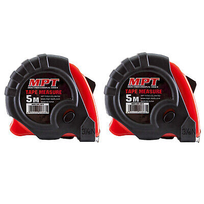 2x Tape Measure 5m PRO MPT Metric Imperial Trade Quality Ergo Heavy Duty 5Mtr 5