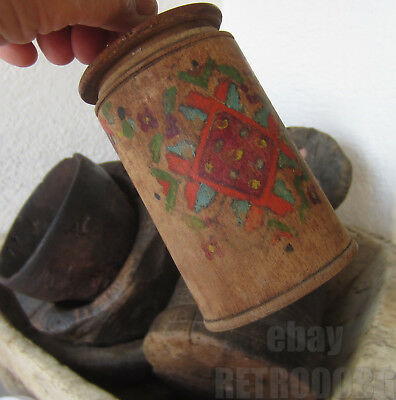 """5""""  Antique  primitive  ✿  ornate WOODEN  BOX  hand painted  WOOD"""