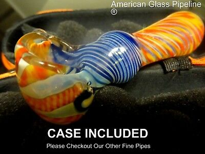 "Vibrant Colors Blue & Orange Glass Hand Tobacco Smoking Pipe. 4"" + Free Case"