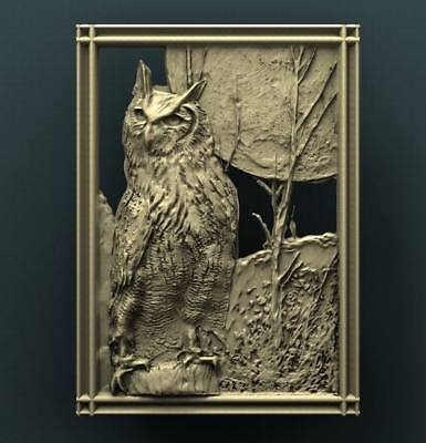 """3D STL Model for CNC Router Aspire Artcam - """"The Owl and the Moon"""""""