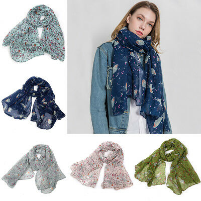 Women Fashion Winter Scarves Robin Bird Patte Flower Print Long Scarf Wrap Shawl