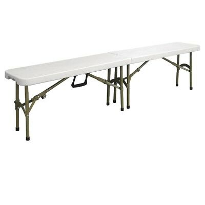 Bolero Centre Folding Bench 6ft White | Seat Sitting Portable Indoors Outdoors