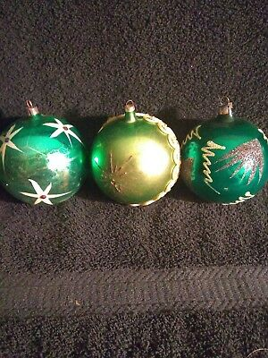 Vintage Green Glitter Handblown Poland Glass Ball Christmas Ornaments 3 Total 4""