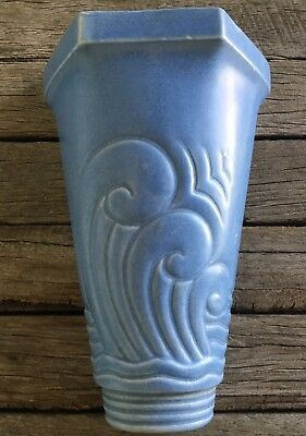 VINTAGE 50's Sky Blue WALL POCKET VASE Stylised Waves ART DECO