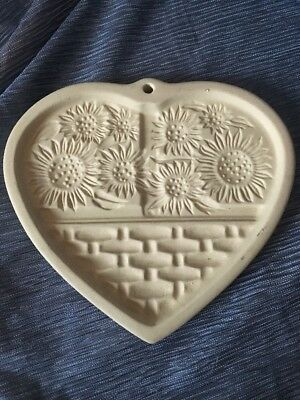 Sunflower Basket  Cookie Candy Mold  Retired Stoneware Pampered Chef 1994
