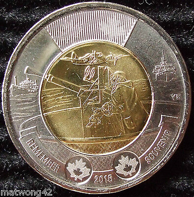 2016 Canada Two Dollar Toonie; 75th Anniversary Battle of the Atlantic; In Cello