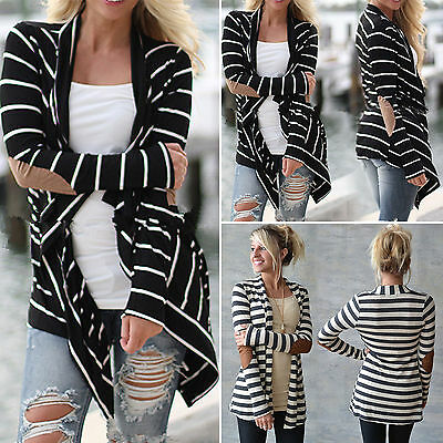 Womens Stripe Patch Cardigan Coat Long Sleeve Casual Autumn Loose Sweater Jacket