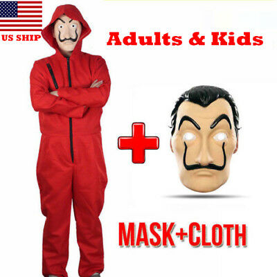 US!La Casa De Salvador Dali Adults Kids  Money Heist The House of Paper Costume