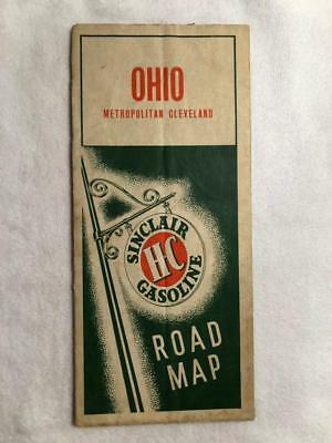 Vintage 1940s Sinclair HC Gas Oil Ohio and Metro Cleveland Road Map Petroliana