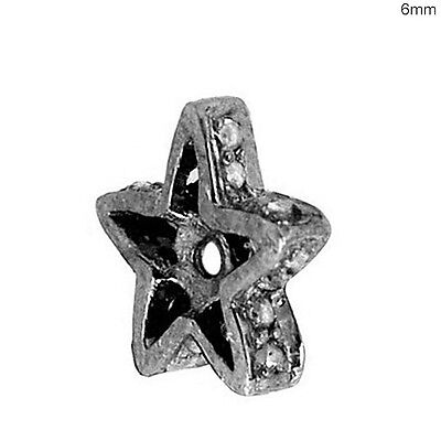 Pave Diamond STAR Spacer Antique Inspire Jewelry Sterling Silver Finding 2pc Lot