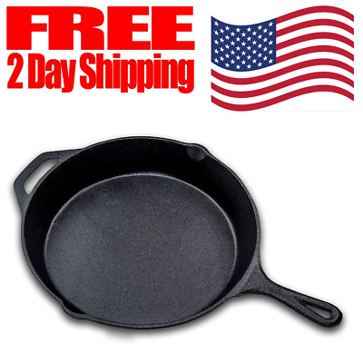 Cast Iron Skillet Stove Oven Fry Pan Pot Cookware Pre Seasoned with Handle