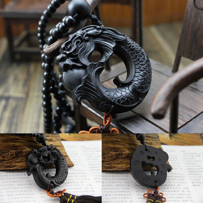 Lucky African Blackwood Chinese Dragon Hand Carving Car Hanging Charms Pendant