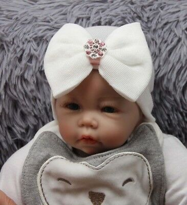 Baby Girls Infant Striped Soft Hat with Bow Cap Hospital Newborn Beanie