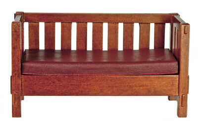 Dollhouse Miniature 1:12 Scale Walnut Mission Style Settee #jj06006Wn