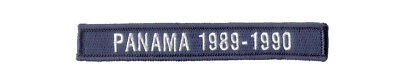 """Small 5"""" X 3/4"""" Hook & Loop Tape """"PANAMA 1989-1990"""" To go with 17th Guidon Patch"""