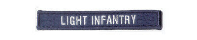 """Small 5"""" X 3/4"""" Hook & Loop Tape """"LIGHT INFANTRY"""" To go with 17th Guidon Patch"""