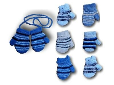 Baby Boys Toddler Winter Fluffy Mittens With String Stripy Gloves Size 2-6 Years