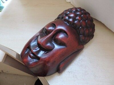 Vintage Chinese Japanese Oriental Bamboo Carving Wooden Buddha Wall Mask Ref35