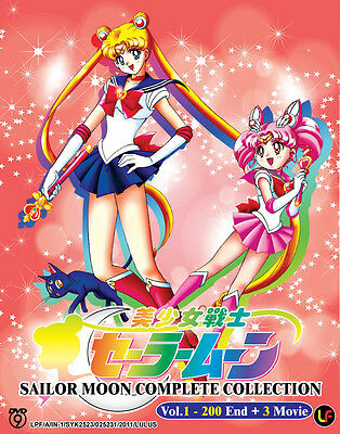 Sailor Moon Complete Collection DVD (Vol.1-200 End +3 Movie) Eng_Sub + Bonus DVD