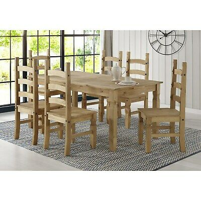 Corona Mexican Solid Pine Extendable Dining Table Set with 6 Di BUN/COR040/70045