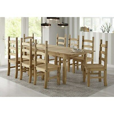 Corona Mexican Solid Pine Extendable Dining Table with 8 Dining BUN/COR040/70044