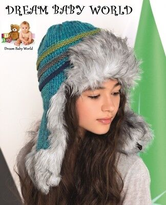 GIRLS KIDS TEENS KNITTED warm winter hat size 12 - 18 Years Trapper CHILDREN